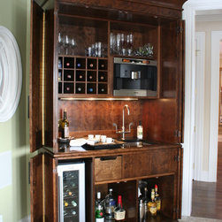 Addition and Whole house remodel - Custom furniture grade cabinet built for wine storage and other beverages, including a built in coffee maker