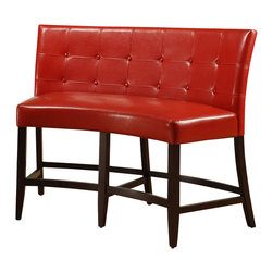 Modus Furniture - Modus Bossa Counter Height Banquette in Red Leatherette - Modus Furniture - Dining Chairs - 2Y9770D -In Brazil, to do something with bossa is to do it with particular charm and natural flair. Available in counter and dining height with 48 and 54 inch tops, Bossa tables pair straight lined architectural bases with round floating tops, built out edge bands and book matched veneer surfaces. Parsons chairs, banquettes and kitchen counter stools are available in several fresh colors and blend transitional button tufting with a contemporary profile, upholstery application and wood finish. The result is an urban contemporary casual dining set designed with ample bossa.