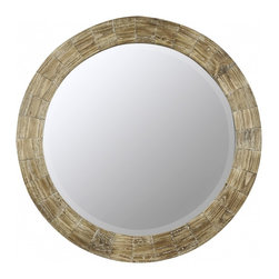 "Cooper Classics - Kettler Natural Wood Round Mirror - Enhance your home's d�cor with the lovely Kettler Mirror.  This beautiful beveled wall mirror features a natural wood finish that will enhance any room's motif. Frame Dimensions: 31.25""W X 31.25""H; Mirror Dimensions: 24.5""W X 24.5""H; Finish: Natural Wood; Material: Wood; Beveled: Yes; Shape: Round; Weight: 21 lbs; Included: Brackets, Ready to Hang"
