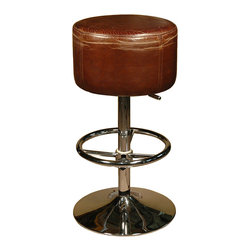 Kathy Kuo Home - Jeanne Distressed Top-Grain Leather Brown Bar Stool - This retro-cool barstool keeps you on the edge of your seat! It shows off its midcentury-modern style with an ottoman-inspired seat upholstered in top-grain leather that's been gently distressed for a timeworn look. Sidle up a few to your home bar or place in your contemporary kitchen around a center island.