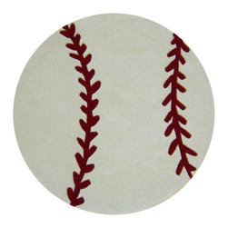 Abacasa - Baseball Rug - Sporty, baseball theme and bright colors. Contemporary style. Round shape. Cotton canvas. Hand tufted for a comfortable and thick pile height. Plush pile. Made from wool. White and red color. Made in India. Pile height: 0.5 in.. 36 in. Dia. (8 lbs.). Care InstructionsCreates a natural source of sound absorption Pulls the overall look of the room together