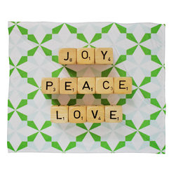 DENY Designs - DENY Designs Happee Monkee Joy Peace Love Fleece Throw Blanket - This DENY fleece throw blanket may be the softest blanket ever! And we're not being overly dramatic here. In addition to being incredibly snuggly with it's plush fleece material, you can also add a photo or select a piece of artwork from the DENY Art Gallery, making it completely custom and one-of-a-kind! And when you've used it so much that it's time for a wash, no big deal, as it's machine washable with no image fading. Plus, it comes in three different sizes: 80x60 (big enough for two), 60x50 (the fan favorite) and the 40x30. With all of these great features, we've found the perfect fleece blanket and an original gift!
