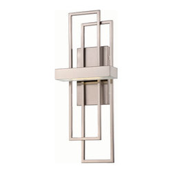 Nuvo Lighting - Frame Brushed Nickel One-Light LED Wall Sconce w/ Frosted Glass - - Bold rectangles of brushed nickel create a strikingly modern sconce to wash walls and illuminate work or seating areas with bright, even light - and the very highest levels of energy efficiency.   - One LED - KolourOne Motivation Module Bulb Included.   - Color Temperature: 2700K (Warm).   - Lumens: 290.   - UL listed and ADA compliant.   - Energy Saver. Nuvo Lighting - 62/105
