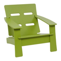 "Loll Designs - Cabrio Kids Chair by Loll Designs - Based on the award-winning design, the Loll Designs Cabrio Kids Chair is a smaller version perfect for the pint sized. Its composition is uber strong and super easy to clean, making it an excellent companion to backyard fun. Mix and match several colors for a cheerful rainbow effect. Loll Designs creates ""outdoor furniture for the modern lollygagger."" Founded in 2003, Loll specializes in the use of recycled materials (primarily plastic milk jugs) to create their long-lasting, low-maintenance and, of course, super-stylish outdoor chairs, tables, benches and other outdoor furnishings. All Loll products are designed and made in Duluth, Minnesota."