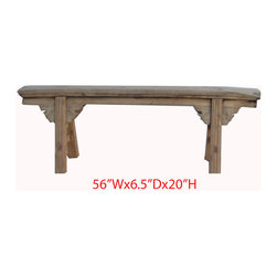 Unique Chinese Antique Natural Elm Wood Long Bench - This is a Chinese antique long bench which is made of solid elm wood. It can be put outside or inside of your house.