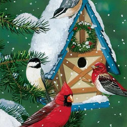 Winter Cottage Puzzle - 1000 Piece Jigsaw PuzzleWhere do all the songbirds go? This winter, they are moving into Winter Cottage! From cardinals to warblers, they gather on a cheerily wreathed birdhouse hanging from a snow covered fir tree. A warm yet wintry image that is both charming and fun.
