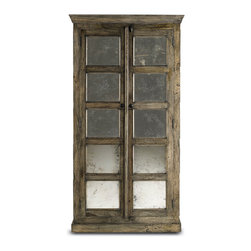 Currey & Co - Currey & Co 3017 Kinsett Black Patina Cabinet - Built of mango wood, this unique cabinet is reminiscent of an old telephone booth. With ten antiqued mirror panels, the doors of this cabinet are certainly bright. The wood has been given a black patina to age it and has been distressed to match the mirrors. The Currey & Co 3017 Kinsett Black Patina Cabinet offers plenty of space within its doors and will look lovely in any room.