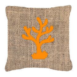 Caroline's Treasures - Coral Burlap and Orange Fabric Decorative Pillow Bb1101 - Indoor or Outdoor Pillow made of a heavyweight Canvas. Has the feel of Sunbrella Fabric. 14 inch x 14 inch 100% Polyester Fabric pillow Sham with pillow form. This pillow is made from our new canvas type fabric can be used Indoor or outdoor. Fade resistant, stain resistant and Machine washable.
