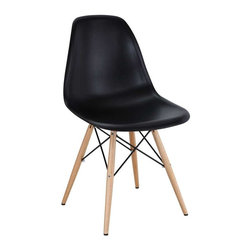 Modway - Pyramid Dining Side Chair in Black - These molded plastic chairs are both flexible and comfortable, with an exciting variety of base options. Suitable for indoors or out, appropriate for the living and dinning room, these versatile chairs are a great addition to any home d'cor statement.