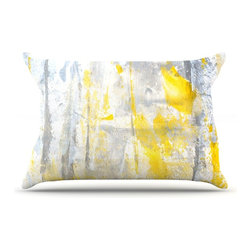 """Kess InHouse - CarolLynn Tice """"Abstraction"""" Grey Yellow Pillow Case, Standard (30"""" x 20"""") - This pillowcase, is just as bunny soft as the Kess InHouse duvet. It's made of microfiber velvety fleece. This machine washable fleece pillow case is the perfect accent to any duvet. Be your Bed's Curator."""