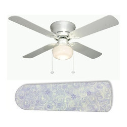 "Purple Sparkle Princess 42"" Ceiling Fan and Lamp - 42-inch 4-blade ceiling fan with a dome lamp kit that comes with custom blades. It has a white flushmount fan base. It has an energy efficient 3-speed reversible airflow motor for year long comfort. It comes with complete installation/assembly instructions. The blades can be cleaned with a damp cloth. It is made with eco-friendly/non-toxic products. This is brand new and shipped in the original box. This is not a licensed product, but is made with fully licensed products. Note: Fan comes with custom blades only."