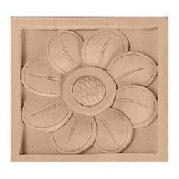 """Ekena Millwork - 3 1/2""""W x 3 1/2""""H x 3/4""""D Medium Sunflower Rosette, Alder - 3 1/2""""W x 3 1/2""""H x 3/4""""D Medium Sunflower Rosette, Alder. Our rosettes are the perfect accent pieces to cabinetry, furniture, fireplace mantels, ceilings, and more. Each pattern is carefully crafted after traditional and historical designs. Each piece comes factory primed and ready for your paint. They can install simply with traditional adhesives and finishing nails."""
