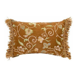 Canaan Company - Elan Suede Mocha Lumbar Pillow - -Ribbon fringe ends  -Fabric Content: 45%Rayon - 55%Polyester Canaan Company - P-767-M