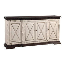 Bassett Mirror - Hampton Buffet - Add a dash of luxurious contemporary style with white studded linen upholstery and contrasting dark hardwoods on this unique buffet. Four cabinets ensure you'll have ample space to store all of your serveware and other dining accessories.