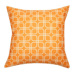 Divine Designs - Orange Indoor/Outdoor Geometric Pillow - This geometric pattern will add a global vibe to your backyard to fit any occasion