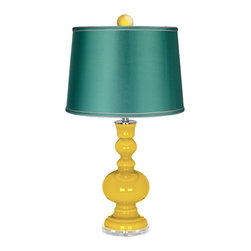 """Color Plus - Contemporary Citrus Apothecary Lamp-Finial and Satin Sea Green Shade - Enhance the beauty of your home with the bold Citrus designer color of this apothecary style Color + Plus™ glass table lamp. Hand-crafted by experienced artisans in our California workshops the lamp features a matching color ball finial at the top to really make the design pop. It stands on a lucite base and is topped with a specially-selected sea green satin drum shade. Citrus glass table lamp. Matching color ball finial. Sea green satin drum shade. Lucite base. Maximum 150 watt or equivalent bulb (not included). On/off switch. 32"""" high. Shade is 14"""" across the top 16"""" across the bottom 11"""" high. Finial is 2 1/2"""" wide 3"""" high.  Citrus glass table lamp.  Matching color ball finial.  Sea green satin drum shade.  Lucite base.  Maximum 150 watt or equivalent bulb (not included).  On/off switch.  32"""" high.  Shade is 14"""" across the top 16"""" across the bottom 11"""" high.  Finial is 2 1/2"""" wide 3"""" high."""