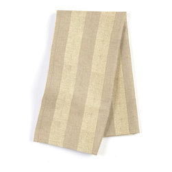 "Metallic Gold Striped Beige Linen Custom Napkin Set - Our Custom Napkins are sure to round out the perfect table setting""""_whether you're looking to liven up the kitchen or wow your next dinner party. We love it in this classic awning stripe with a modern metallic twist: gold foil printed on beige linen."