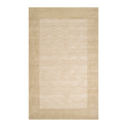 Mystique Rug - Parchment and Oyster Grey - 5' x 8' - A wide border of sandy-hued parchment embraces a slightly hushed shade of the same tone, highlighting the luxe quality of the Mystique rug's 100% hand-loomed wool. The supple neutral conveys warmth and a contemporary sensibility. It pairs easily with a range of furnishings in modern settings and imparts luxury through a thick, lush pile of the soft textile. The Mystique area rug is available in a range of rectangular and square sizes.