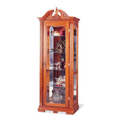 Coaster - Oak Traditional Curio - This five-shelved, curio is a perfect, space-concious way to display collectables. It can also be used for storage.