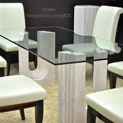 """ROMA 79""""x39""""x29"""" TRAVERTINE MARBLE GLASS DINING TABLE - Reference: DT105+DT105GLASS"""