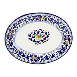 Artistica - Hand Made in Italy - Arabesco: Oval Platter - Arabesco Collection: The Arabesco evokes Italian country charm and is one of the most popular patterns created in Deruta - Italy.