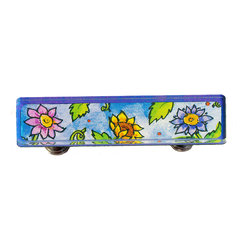 Paper Scissors Rock - Garden Drawer Pull - Our Drawer Pulls are exclusively available on Houzz.com. These colorful accents will brighten up any room, cabinet or piece of furniture. Each one starts with an original watercolor by artist Pamela Corwin, which is reproduced and sandwiched in between two durable layers of durable acrylic and mounted on a chrome finished base.  A perfect for your child's bureau, cabinet or even in the bathroom. Standard 8-32 screws included