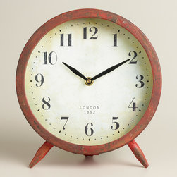 World Market - Large Red Charlie Clock - Our Large Red Charlie Clock brings you retro style at a great value. This vintage-inspired tabletop clock is a standout accent for any bookcase, nightstand or desk.