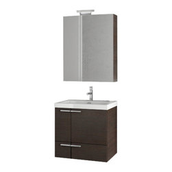 ACF - 23 Inch Wenge Bathroom Vanity Set - Made in engineered wood and mirrored glass and ceramic and finished in wenge.