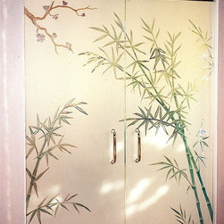 "Bamboo Forest Glass Doors - Bamboo Forest Glass Doors ..... First impressions count!   ..... Glass Doors and Entries that Make a Statement.  Let Sans Soucie Art Glass transform the ordinary into the extraordinary with one of their signature frameless, all glass doors!  Glass front entry doors will be 1/2"" thick, while Interior glass doors can be 3/8"" or 1/2"" depending on the size, location and application.  Available any size, custom made to order, all glass is tempered for safety.   Interior glass doors will include wall mount hinges and solid metal door pulls.  Glass front entry or exterior doors will include top and bottom metal rails or patch fittings, header with concealed hydraulic closures, vertical jambs, lock box, threshold, back-to-back door pulls, all hardware (in a variety of finishes) and weather stripping and mohair door seals.   While any effect is possible on these doors, the majority of our clients who select frameless glass doors opt for the 3D carved option where the design is sculpted and will have a relief texture of varying depths. Glass is hand-crafted, sandblast frosted and 3D carved, art glass doors by Sans Soucie add a truly unique element and level of luxury, while providing privacy AND light!   From a little to a lot, the privacy you need is created without sacrificing sunlight.     From simple frosted glass effects to our more extravagant 3D sculpture carving, painted glass .. and everything in between, Sans Soucie designs are sandblasted different ways which create not only different effects but different levels in price.  The ""same design, done different"" - with no limit to design -  there's something for every decor, regardless of style.  Price will vary by design complexity and type of effect:  Specialty Glass and Frosted Glass.  For complete descriptions of glass types and effects, click here. Available any size, custom made to order and shipping worldwide at reasonable prices,   The sandblast artist literally cuts deep into the glass, using sand as their sculpting tool.  The edges of the carving illuminate bright as they pick up and reflect the surrounding light.   If color is desired, the 3D carved glass is airbrush painted in either translucent or solid paints, from matte to metallic.   Sans Soucie has hundreds of glass door designs available from simple to extravagant, and we specialize in creating new, custom designs specifically designed for your front entry."