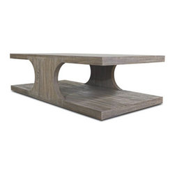 Brownstone Furniture Palmer Rectangular Coffee Table - Richly grained teak table with a sandblasted, driftwood gray finish. Each piece carefully designed with updated silhouettes that embody subtle refinement.