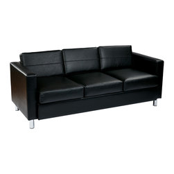 Office Star - Office Star Pacific Easy-Care Black Faux Leather Sofa Couch With Spring Seats - Pacific Easy-Care Black Faux Leather Sofa Couch with Spring Seats and Silver Color Legs by Ave Six. A serious statement of style, this budget-balancing sofa is much more than just an affordable seating solution.  This sharp couch supplies you with both a classy and sexy visage via its linear, geometric design that is both contemporary & modern. What's included: Sofa (1).
