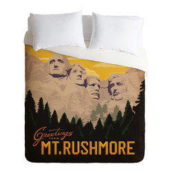 DENY Designs - DENY Designs Anderson Design Group Mt Rushmore Duvet Cover - Lightweight - Turn your basic, boring down comforter into the super stylish focal point of your bedroom. Our Lightweight Duvet is made from an ultra soft, lightweight woven polyester, ivory-colored top with a 100% polyester, ivory-colored bottom. They include a hidden zipper with interior corner ties to secure your comforter. It is comfy, fade-resistant, machine washable and custom printed for each and every customer. If you're looking for a heavier duvet option, be sure to check out our Luxe Duvets!