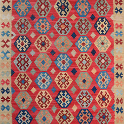 "ALRUG - Handmade Brick/Red Oriental Kilim  8' 2"" x 9' 11"" (ft) - This Afghan Kilim design rug is hand-knotted with Wool on Wool."