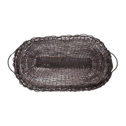 Pre-owned Woven Wire Tray - A woven wire tray with handles, and is in excellent condition. It would look charming atop a rustic dining table holding fruit or as a coffee table catch all.