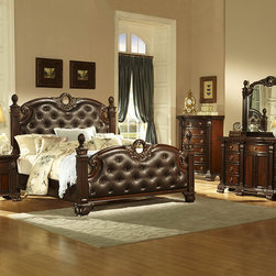 Homelegance - Homelegance Orleans 5 Piece Poster Bedroom Set in Rich Cherry - The grandeur of Old World Europe is flawlessly executed in the Orleans Collection. Acanthus leaf carvings feature prominently and blend with elegantly appointed moldings on each piece of this stately bedroom. Wreath accents lend dramatic flair to the bed and mirror as does the sculpted lion's foot base, supporting each of the case pieces. Heavy pilasters rise with and are topped with carved finials on the tufted dark brown bonded leather headboard and footboard. A rich cherry finish with goldKitchen & Dining/Kitchen Textiles0Kitchen & Dining/Kitchen  - 2168K-UPSB-5-SET.  Product features: Grandeur of Old World Europe; Ornate Style; Sculpted lion's foot base; Four Poster Bed; Dark brown bonded leather headboard and footboard; Rich Cherry finish; Gold tipping completes; Available in California King, Eastern King and Queen sizes. Product includes: Poster Bed (1); Nightstand (1); Chest (1); Dresser (1); Mirror (1). 5 Piece Poster Bedroom Set in Rich Cherry belongs to Orleans Collection by Homelegance.