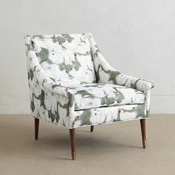 Harper Armchair - With soft curves that yield to a contemporary silhouette, this charming respite has an ultra-comfy feel. Sink into its desert-inspired upholstery created by New England artist Michelle Morin, whose designs often parallel elements she finds in nature.