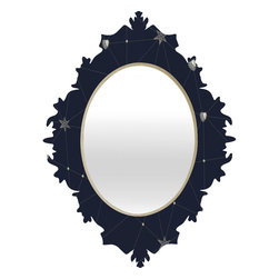 DENY Designs - Belle13 Love Constellation Baroque Mirror - As we like to say around here, if it ain't baroque, don't hang it! With a sleek mix of baltic birch ply trim that's unique to each piece and a glossy aluminum frame, the baroque mirrors collection bumps your stylish reflection up a notch. Custom made in the USA for every order.