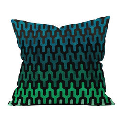 DENY Designs - DENY Designs Arcturus Cool 1 Outdoor Throw Pillow - 16031-OTHRP18 - Shop for Cushions and Pads from Hayneedle.com! Chill out on your patio with the DENY Designs Arcturus Cool 1 Outdoor Throw Pillow. Crafted with water- and mildew-proof woven polyester this cushy throw pillow boasts a coolly hued geometric print in shades of black blue and green. Toss it on your favorite chair or lounger indoors or out. Spot clean with mild detergent. Available in 18- and 20-in. sizes.About DENY DesignsDenver Colorado based DENY Designs is a modern home furnishings company that believes in doing things differently. DENY encourages customers to make a personal statement with personal images or by selecting from the extensive gallery. The coolest part is that each purchase gives the super talented artists part of the proceeds. That allows DENY to support art communities all over the world while also spreading the creative love! Each DENY piece is custom created as it's ordered instead of being held in a warehouse. A dye printing process is used to ensure colorfastness and durability that make these true heirloom pieces. From custom furniture pieces to textiles everything made is unique and distinctively DENY.