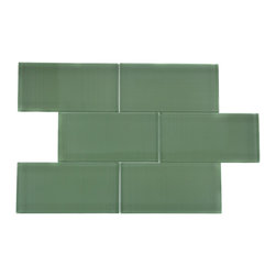 GlassTileStore - Loft Spa Green Polished 3x6 Glass Tile - LOFT SPA GREEN POLISHED 3x6 SUBWAY TILE  These subway tiles are decorative and durable, making it a great backdrop. The glass tile will reflect the lights in your kitchen, giving it a fresh, clean and brighter look. Using a subway tile backsplash will not only protect your wall from splashes, but may also add some color and style to your kitchen decor too, it should also give it a more distinct look.      Chip Size: 3x6   Color: Spa Green   Material: Glass   Finish: Polished   Sold by the square foot (8 loose 3x6 pieces)   Thickness: 8mm   Please note each lot will vary from the next.    - Glass Tile -