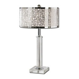 Uttermost - Uttermost 26578-1  Lucius Crystal Column Table Lamp - Thick crystal column and foot accented with polished chrome plated details. the round hardback shade is chrome plated laser cut metal with an off white linen liner.
