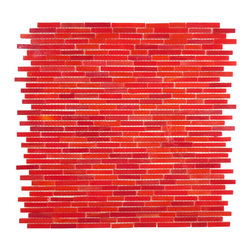 "Glass Tile Oasis - Crimson Random Bricks Red Mini Brick Victorian Glossy Glass - Sheet size:  Approx 1.10 Sq. Ft.        Tile Size:  Random Bricks        Tiles per sheet:  266        Tile thickness:  1/8""        Grout Joints:  1/8""        Sheet Mount:  Mesh Backed     Sold by the sheet     -  Bring bold  dazzling style to any space with Victorian  a collection made from vibrant stained glass. This series stands out for its beautiful patterns and meticulous attention to detail. The mesh-backed tiles come in varying sizes depending on the design  and they are suitable for variety of interior and outdoor spaces."