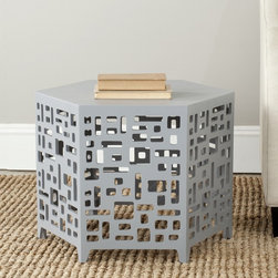 Safavieh - Safavieh Kelby Pearl Blue Grey End Table - This contemporary small end table features a six-sided design with eye-catching geometric cutouts. The perfect highlight for any modern decor,this sturdy table features an unforgettable look that is perfect for creating a more stylish atmosphere.