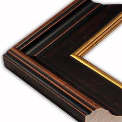 The Frame Guys - Concord Dark Wood with Gold Lip Picture Frame-Solid Wood, 8x20 - *Concord Dark Wood with Gold Lip Picture Frame-Solid Wood, 8x20