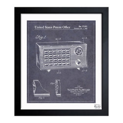 """The Oliver Gal Artist Co. - 'Radio Cabinet 1955'  Framed Wall Art 10"""" x 12"""" - Turn up the volume with this 1950s radio blueprint. Available in three sizes, you're sure to find the right one to fit that perfect spot. It comes ready to hang with the hardware included, and it's even authenticated by the artist."""