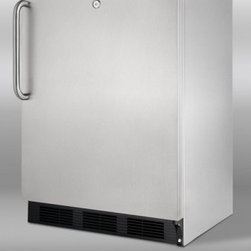 """Summit - SCR600LOSBISDLHD 24"""" 5.5 cu.ft. Capacity Compact Built-in Refrigerator  Automati - SUMMIT39s SCR600LOSBISD is a commercially approved outdoor beverage center designed for built-in installation Fully constructed from non-corrodible 304 grade stainless steel the SCR600LOSBISD will weather the elements in classic style We include an i..."""