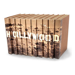 Hollywood Books - Set of 10 - You can, indeed, judge a book by its cover. A visually striking set of decorative tomes, the Hollywood Books - Set of 10 make an impressive graphic statement when placed upon a shelf in an eclectic great room, a window ledge in a home office, a fireplace mantel embellished with objects d'art, or glass-fronted armoire in a personal library.