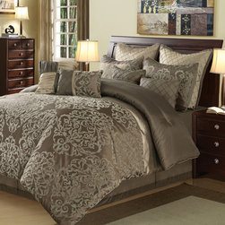 None - Carlo 10-piece Comforter Set - Add luxury to your bedroom with this Carlo 10-piece comforter set. Featuring taupe and brown colors,this set has a woven texture detail. It includes four accent pillows,two shams,a bedskirt,two euro shams,and a comforter for an instant update.