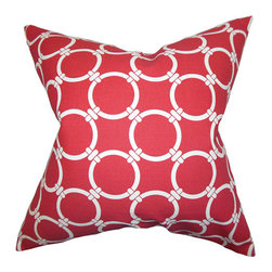 The Pillow Collection - Betchet Red 18 x 18 Geometric Throw Pillow - - Pillows have hidden zippers for easy removal and cleaning  - Reversible pillow with same fabric on both sides  - Comes standard with a 5/95 feather blend pillow insert  - All four sides have a clean knife-edge finish  - Pillow insert is 19 x 19 to ensure a tight and generous fit  - Cover and insert made in the USA  - Spot clean and Dry cleaning recommended  - Fill Material: 5/95 down feather blend The Pillow Collection - P18-PP-LINKED-CARMINE-C100