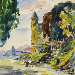 French Castle, C. 1950, Painting - Original watercolor painting of an imposing French stone castle towering above lovely, verdant countryside, circa 1950.