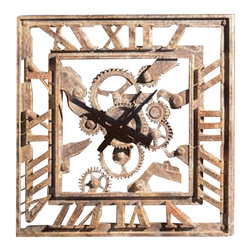 "Factory Direct Wall Decor - Square Gear Wall Clock - The Square Gear Clock adds is an industrial feel clock with Roman numerals. This is a 23""W x 23""H x 3"" in Depth clock. This item weighs approximately 15 lbs, and requires one AA battery."